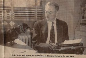 E.B. White with his dog in the late 1940s (photo from NYT, 10/2/85)
