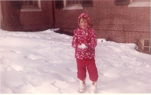 My first encounter with snow in 1965. The boots and snow suit were purchased especially for the trip and outgrown before they could be worn again.