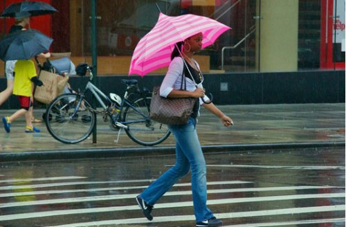 """This umbrella makes me feel very calm and peaceful, even when it's pouring outside..."" Photo: Ed Yourdan, Aug. 2011"