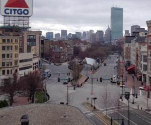 Kenmore Square, Boston, no signs of life. Bring back the crowds!